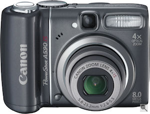 Canon's PowerShot A590 IS digital camera. Courtesy of Canon, with modifications by Michael R. Tomkins. Click for a bigger picture!