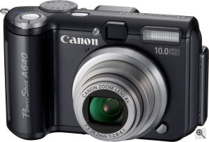 Canon's PowerShot A640 digital camera. Courtesy of Canon, with modifications by Michael R. Tomkins. Click for a bigger picture!