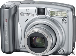 Canon's PowerShot A720 IS digital camera. Courtesy of Canon, with modifications by Michael R. Tomkins. Click for a bigger picture!