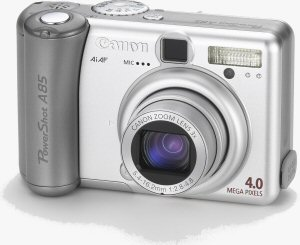 Canon's PowerShot A85 digital camera. Courtesy of Canon, with modifications by Michael R. Tomkins. Click for a bigger picture!