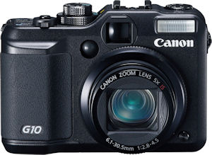 Canon's PowerShot G10 digital camera. Courtesy of Canon, with modifications by Michael R. Tomkins. Click for a bigger picture!