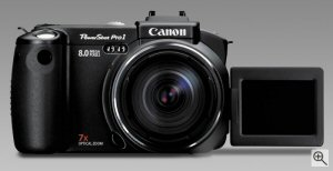 Canon's PowerShot Pro 1 digital camera. Courtesy of Canon, with modifications by Michael R. Tomkins. Click for a bigger picture!