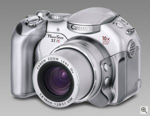 Canon's PowerShot S1 IS digital camera. Courtesy of Canon, with modifications by Michael R. Tomkins. Click for a bigger picture!