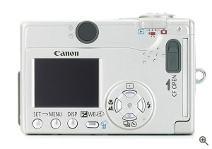 Canon's PowerShot S200 digital camera. Courtesy of Canon, with modifications by Michael R. Tomkins.