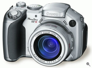 Canon's PowerShot S2 IS digital camera. Courtesy of Canon USA, with modifications by Michael R. Tomkins. Click for a bigger picture!
