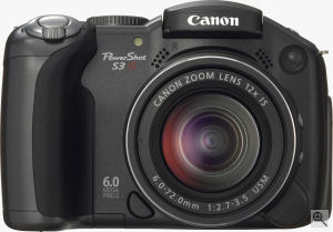 Canon's PowerShot S3 IS digital camera. Courtesy of Canon, with modifications by Michael R. Tomkins. Click for a bigger picture!