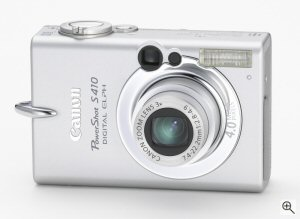 Canon's PowerShot S410 digital camera. Courtesy of Canon, with modifications by Michael R. Tomkins. Click for a bigger picture!