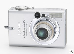 Canon's PowerShot S500 digital camera. Courtesy of Canon, with modifications by Michael R. Tomkins. Click for a bigger picture!