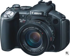 Canon's PowerShot S5 IS digital camera. Courtesy of Canon, with modifications by Michael R. Tomkins. Click for a bigger picture!