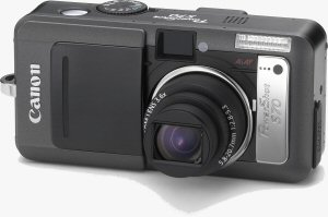Canon's PowerShot S70 digital camera. Courtesy of Canon, with modifications by Michael R. Tomkins. Click for a bigger picture!
