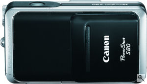 Canon's PowerShot S80 digital camera. Courtesy of Canon, with modifications by Michael R. Tomkins. Click for a bigger picture!