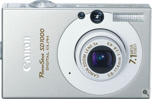 Canon's PowerShot SD1000 Digital ELPH digital camera. Courtesy of Canon, with modifications by Michael R. Tomkins. Click for a bigger picture!