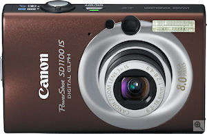 Canon's PowerShot SD1100 IS digital camera. Courtesy of Canon, with modifications by Michael R. Tomkins. Click for a bigger picture!