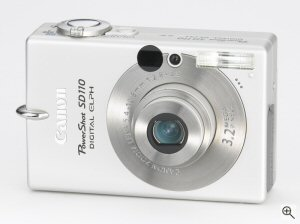 Canon's PowerShot SD110 digital camera. Courtesy of Canon, with modifications by Michael R. Tomkins. Click for a bigger picture!