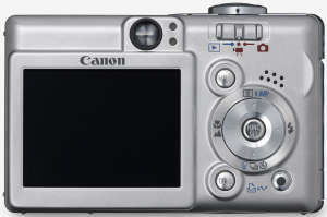 Canon's PowerShot SD400 Digital ELPH. Courtesy of Canon, with modifications by Michael R. Tomkins. Click for a bigger picture!