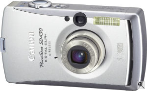 Canon's PowerShot SD430 Digital ELPH. Courtesy of Canon, with modifications by Michael R. Tomkins. Click for a bigger picture!