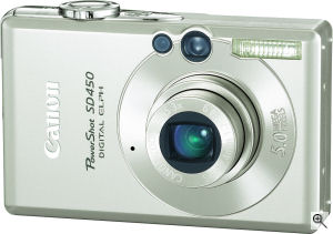 Canon's PowerShot SD450 digital camera. Courtesy of Canon, with modifications by Michael R. Tomkins. Click for a bigger picture!