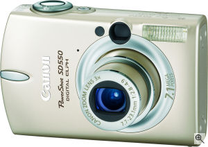 Canon's PowerShot SD550 digital camera. Courtesy of Canon, with modifications by Michael R. Tomkins. Click for a bigger picture!