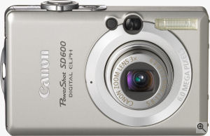 Canon's PowerShot SD600 digital camera. Courtesy of Canon, with modifications by Michael R. Tomkins. Click for a bigger picture!