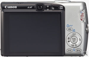 Canon's PowerShot SD700 IS digital camera. Courtesy of Canon, with modifications by Michael R. Tomkins. Click for a bigger picture!
