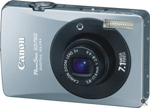 Canon's PowerShot SD750 Digital ELPH digital camera. Courtesy of Canon, with modifications by Michael R. Tomkins. Click for a bigger picture!