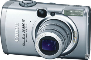 Canon's PowerShot SD850 IS digital camera. Courtesy of Canon, with modifications by Michael R. Tomkins. Click for a bigger picture!