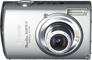Canon's PowerShot SD870 IS digital camera. Courtesy of Canon, with modifications by Michael R. Tomkins. Click for a bigger picture!