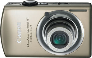 Canon's PowerShot SD880 IS digital camera. Courtesy of Canon, with modifications by Michael R. Tomkins. Click for a bigger picture!