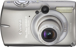 Canon's PowerShot SD950 IS digital camera. Courtesy of Canon, with modifications by Michael R. Tomkins. Click for a bigger picture!