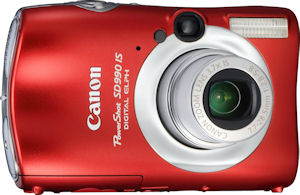 Canon's PowerShot SD990 IS digital camera. Courtesy of Canon, with modifications by Michael R. Tomkins. Click for a bigger picture!