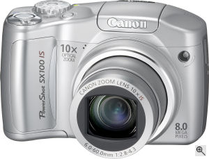 Canon's PowerShot SX100 IS digital camera. Courtesy of Canon, with modifications by Michael R. Tomkins. Click for a bigger picture!