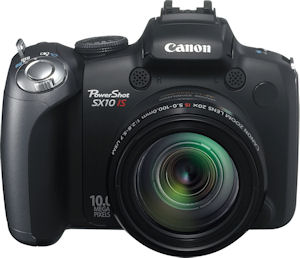 Canon's PowerShot SX10 IS digital camera. Courtesy of Canon, with modifications by Michael R. Tomkins. Click for a bigger picture!