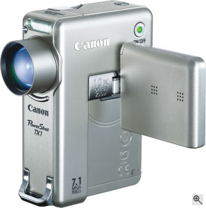 Canon's PowerShot TX1 digital camera. Courtesy of Canon, with modifications by Michael R. Tomkins. Click for a bigger picture!