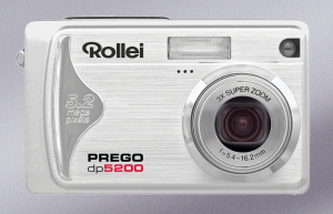 Rollei's Prego dp5200 digital camera. Courtesy of Rollei, with modifications by Michael R. Tomkins. Click for a bigger picture!