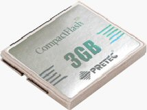 Pretec's 3GB Platinum CompactFlash card. Courtesy of Pretec, with modifications by Michael R. Tomkins. Click for a bigger picture!