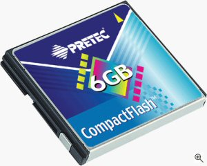 Pretec's 6GB CompactFlash card. Courtesy of Pretec, with modifications by Michael R. Tomkins. Click for a bigger picture!