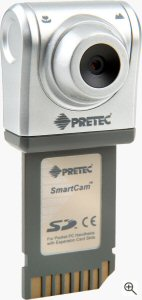 Pretec's Secure Digital SmartCam card. Courtesy of Pretec, with modifications by Michael R. Tomkins. Click for a bigger picture!