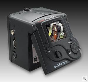 Kodak's DSC Pro Back, rear left quarter view #2. Courtesy of Kodak - click for a bigger picture!