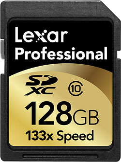 Lexar's Professional-series 128GB Class 10 (133x speed) SDXC card. Rendering provided by Lexar Media Inc. Click for a bigger picture!