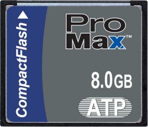 ATP's ProMax 8GB CompactFlash card. Courtesy of ATP, with modifications by Michael R. Tomkins.