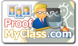 ProofMyClass.com logo. Image provided by PhotoLynx Inc.
