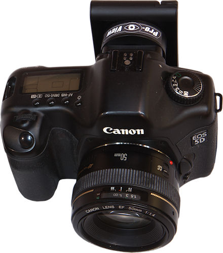 Canon EOS 5D digital SLR with Pro-View eyepiece video transmitter attached. Photo provided by Pro-View. Click for a bigger picture!