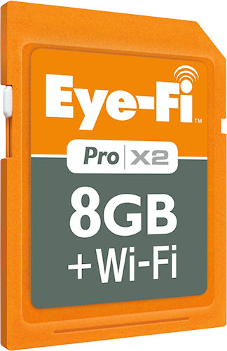 Eye-Fi's Pro X2 8GB SDHC card with 802.11n wifi capability. Rendering provided by Eye-Fi. Click for a bigger picture!