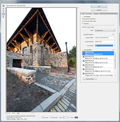 Lens Correction dialog in Photoshop CS5. Screenshot provided by Adobe Systems Inc. Click for a bigger picture!