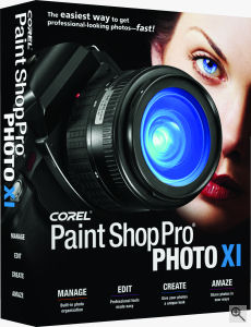 Corel's Paint Shop Pro Photo XI box shot. Courtesy of Corel, with modifications by Michael R. Tomkins. Click for a bigger picture!