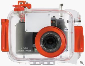 Olympus' PT-015 underwater housing for the C-5050 Zoom digital camera. Courtesy of Olympus, with modifications by Michael R. Tomkins. All rights reserved.