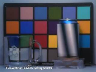 Traditional CMOS sensor video frame showing rolling shutter effect. Photo provided by InVisage Technologies Inc.