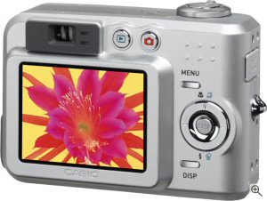 Casio's QV-R51 digital camera. Courtesy of Casio, with modifications by Michael R. Tomkins. Click for a bigger picture!