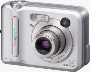 Casio's QV-R62 digital camera. Courtesy of Casio, with modifications by Michael R. Tomkins. Click for a bigger picture!