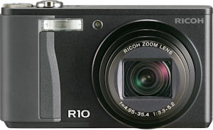 Ricoh's R10 digital camera. Courtesy of Ricoh, with modifications by Michael R. Tomkins. Click for a bigger picture!
